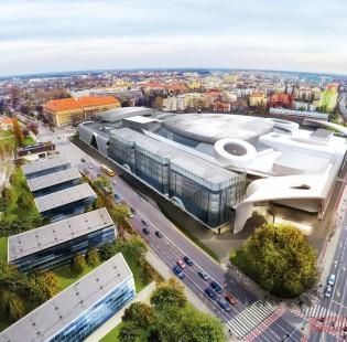 Wroclavia i Sagittarius Business House z lotu ptaka
